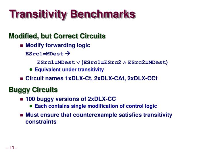 Transitivity Benchmarks