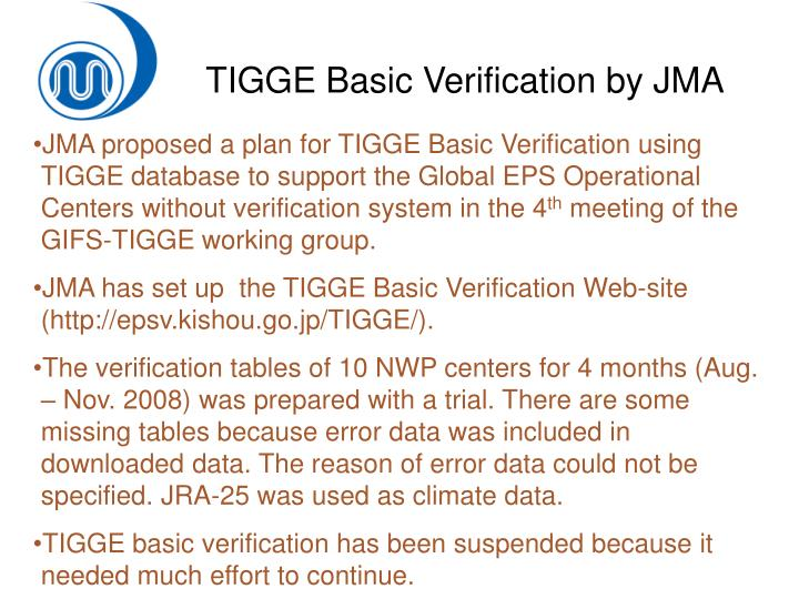 TIGGE Basic Verification by JMA