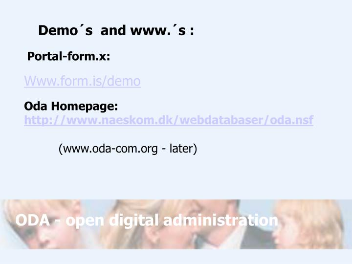 Demo´s  and www.´s :