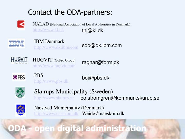 Contact the ODA-partners: