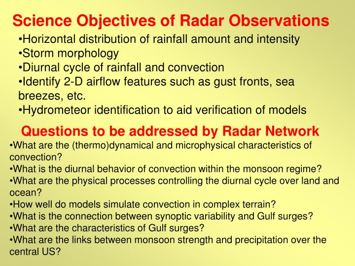 Science Objectives of Radar Observations