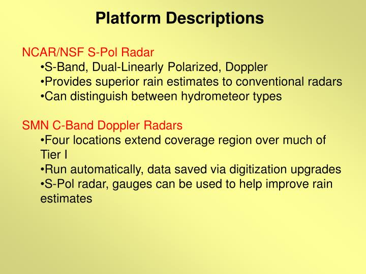 Platform Descriptions