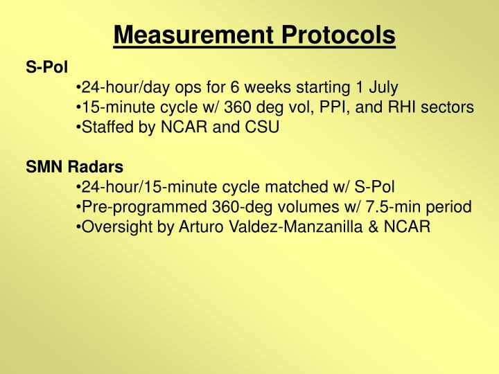Measurement Protocols