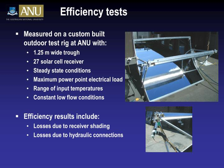 Efficiency tests