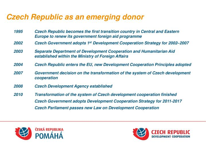 Czech republic as an emerging donor