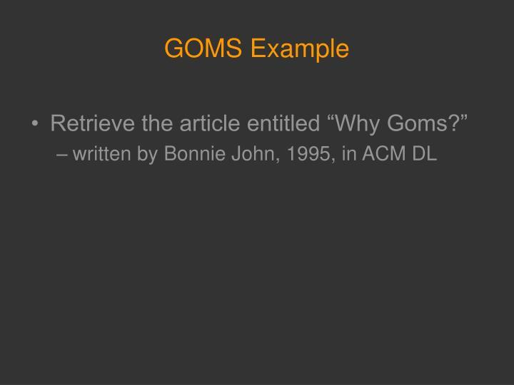GOMS Example