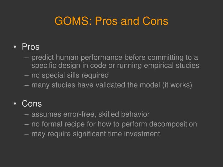 GOMS: Pros and Cons