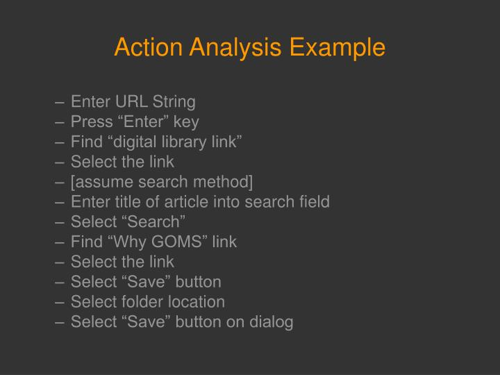 Action Analysis Example