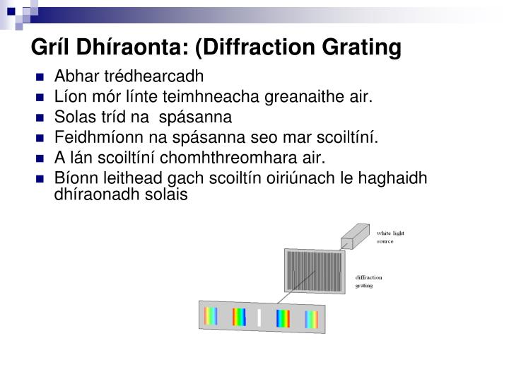 Gríl Dhíraonta: (Diffraction Grating