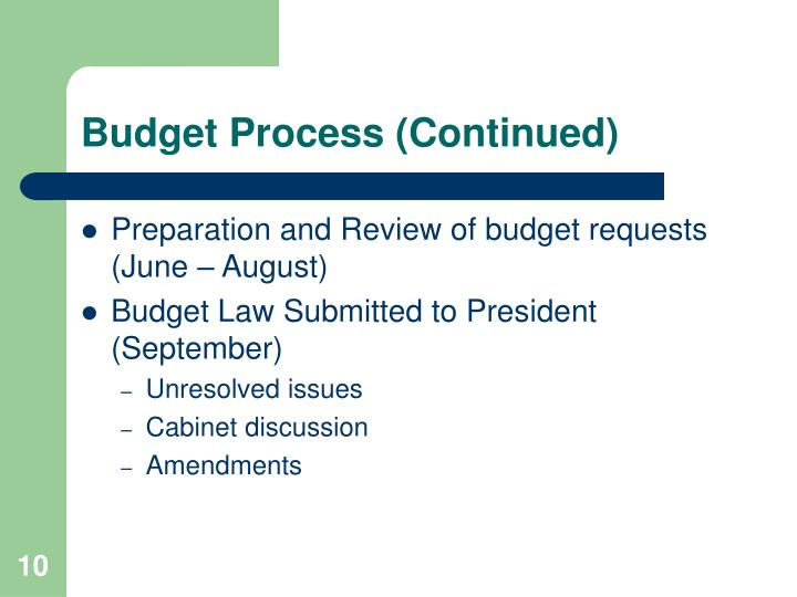 Budget Process (Continued)