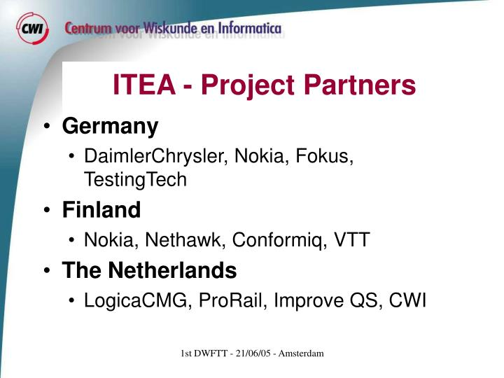 Itea project partners