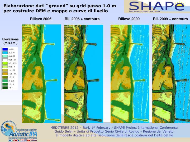 """Elaborazione dati """"ground"""" su grid passo 1.0 m"""