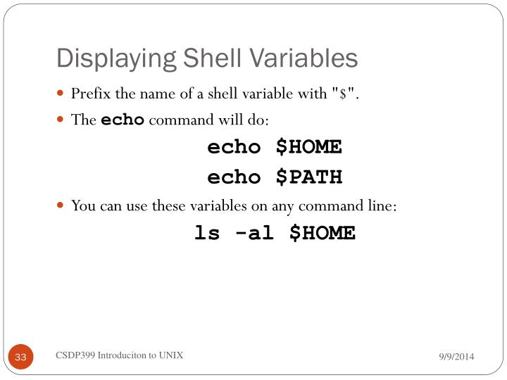Displaying Shell Variables