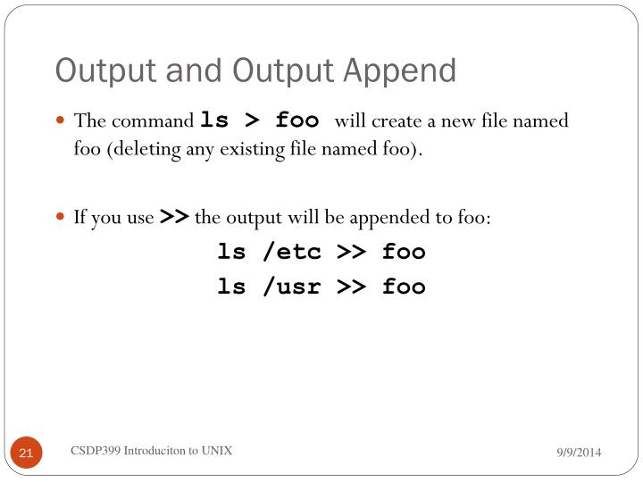 Output and Output Append