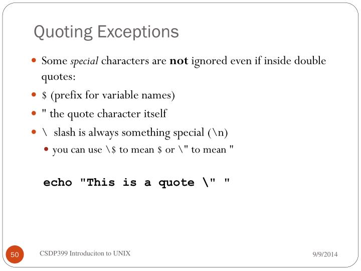 Quoting Exceptions