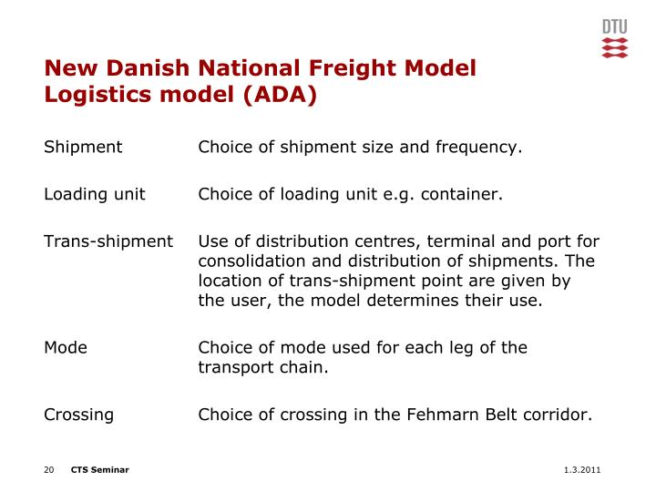 New Danish National Freight Model