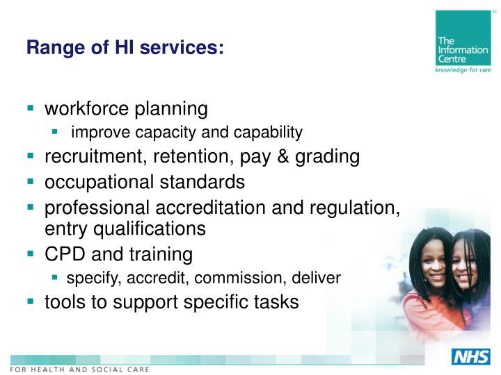 Range of HI services: