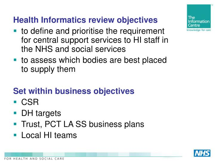 Health Informatics review objectives