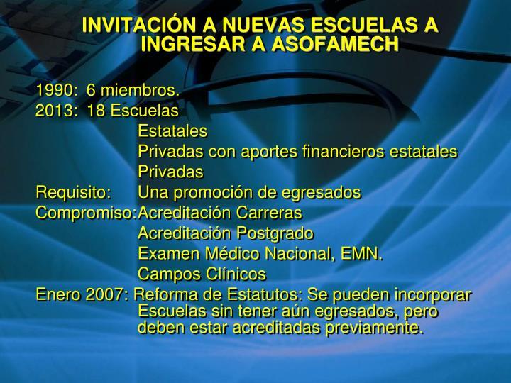 INVITACIÓN A NUEVAS ESCUELAS A INGRESAR A ASOFAMECH