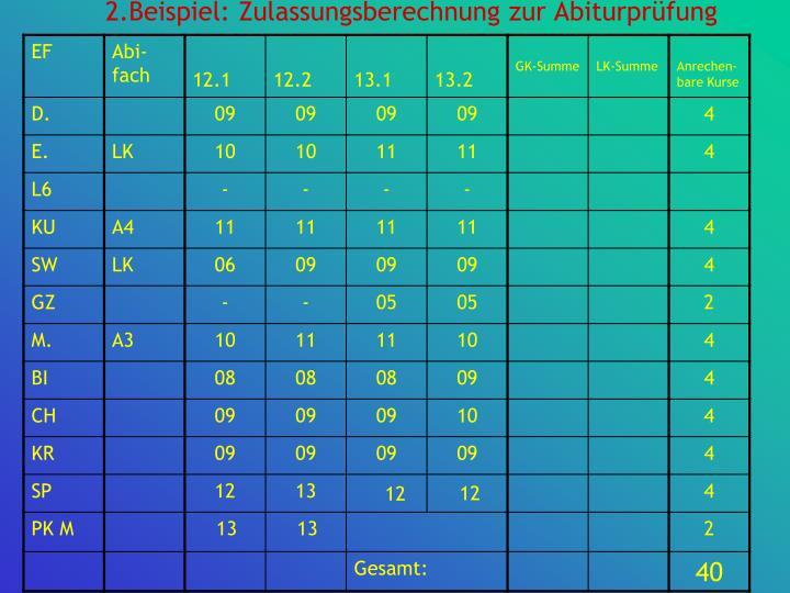 2.Beispiel: Zulassungsberechnung zur Abiturprüfung