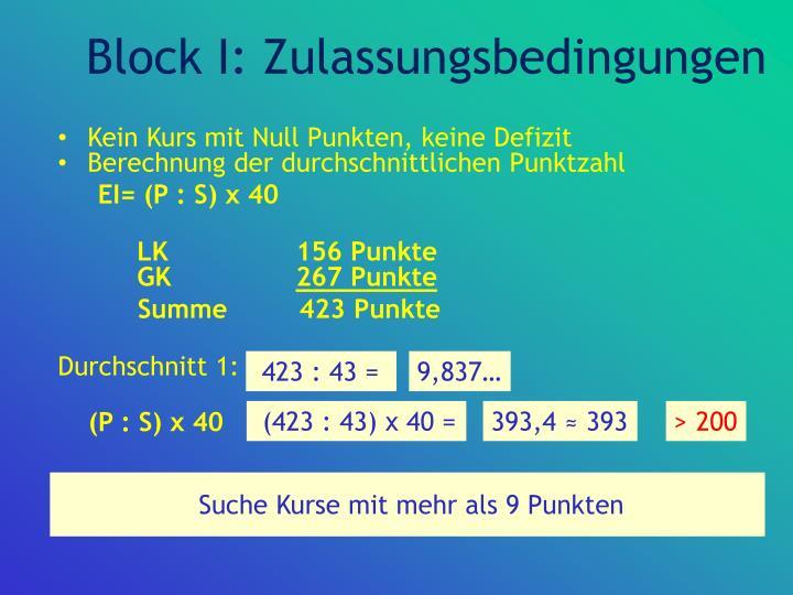 Block I: Zulassungsbedingungen