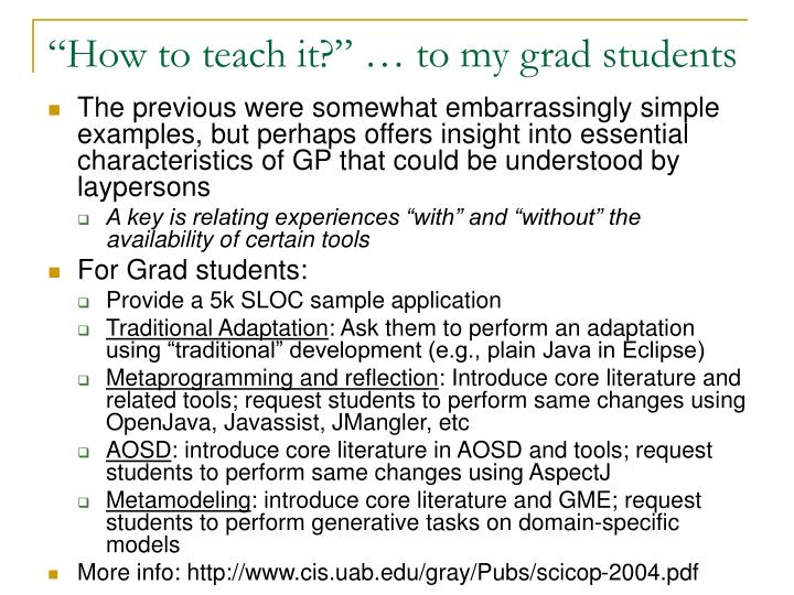 """How to teach it?"" … to my grad students"