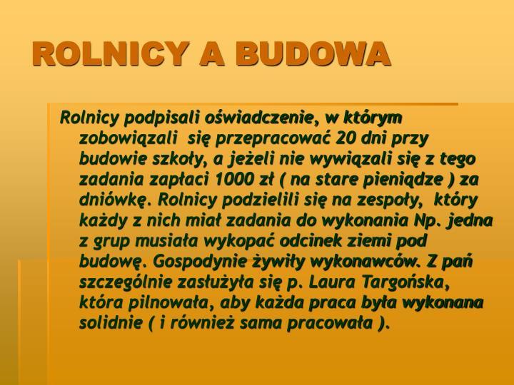 ROLNICY A BUDOWA