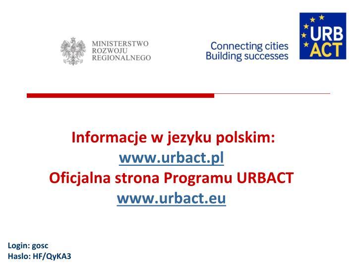 Informacje w jezyku polskim: