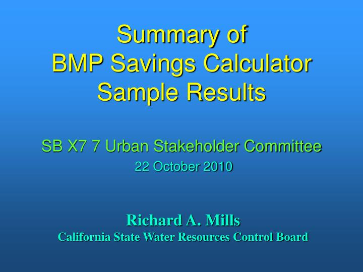 Summary of bmp savings calculator sample results