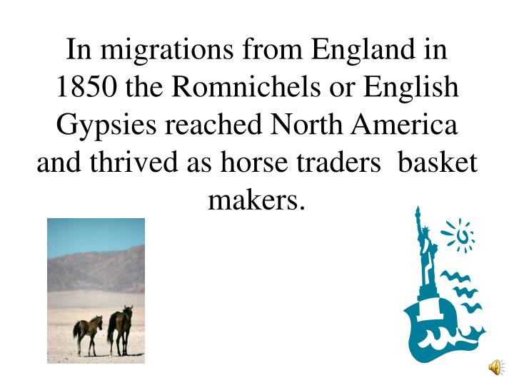 In migrations from England in 1850 the Romnichels or English Gypsies reached North America and thrived as horse traders  basket makers.
