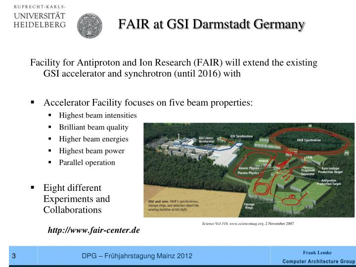 FAIR at GSI Darmstadt Germany