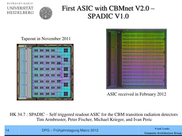 First ASIC with CBMnet V2.0 –