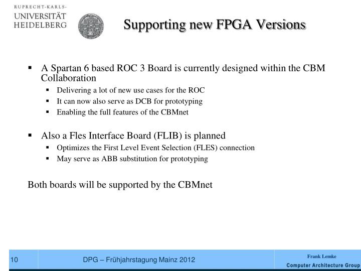 Supporting new FPGA Versions