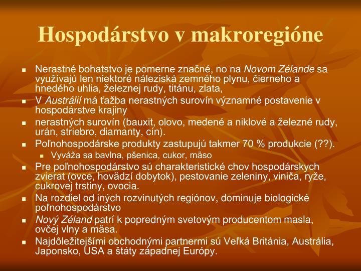Hospodárstvo v makroregióne