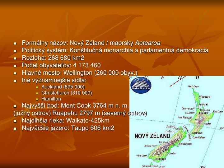 Formálny názov: Nový Zéland / maorsky