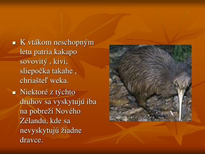 K vtákom neschopným letu patria kakapo sovovitý , kivi, sliepočka takahe , chriašteľ weka.
