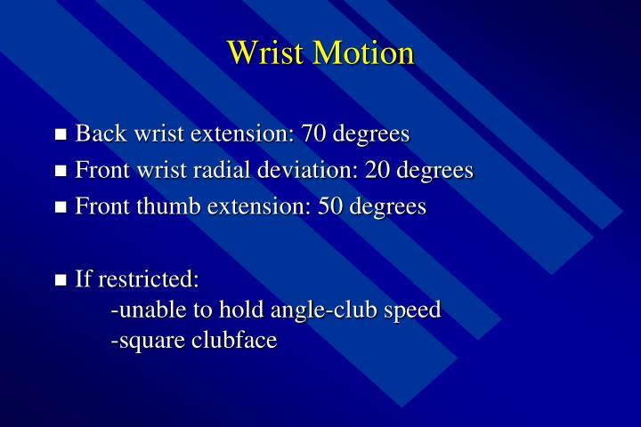 Wrist Motion