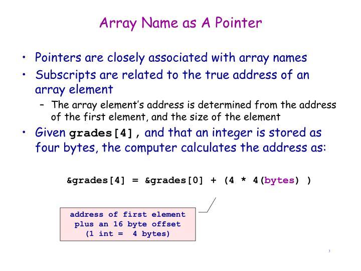 Array Name as A Pointer