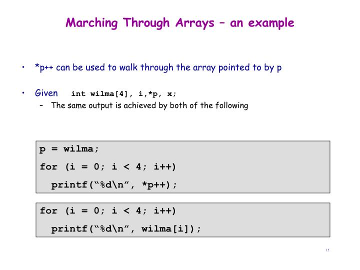 Marching Through Arrays – an example