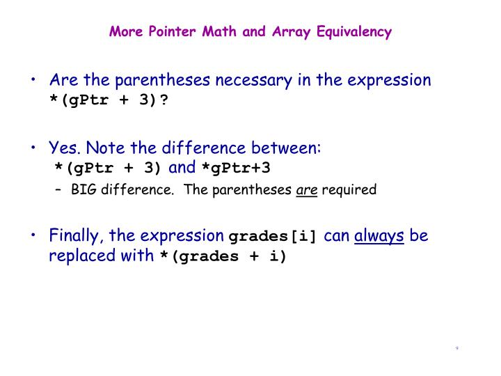 More Pointer Math and Array Equivalency