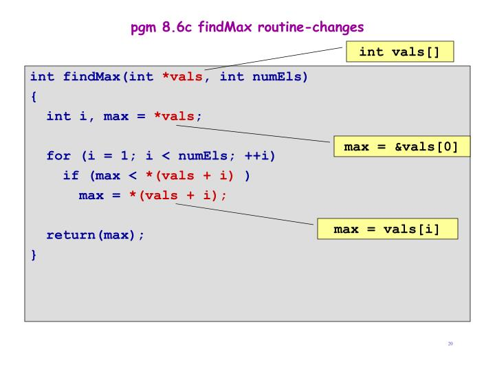 pgm 8.6c findMax routine-changes