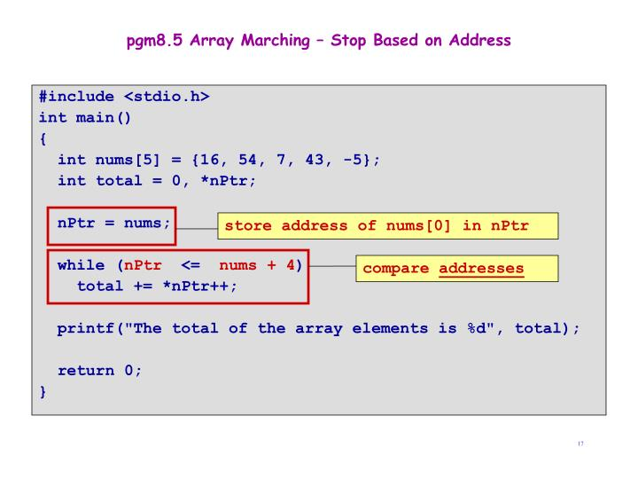 store address of nums[0] in nPtr
