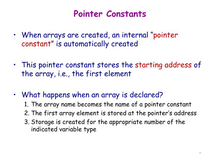 Pointer Constants