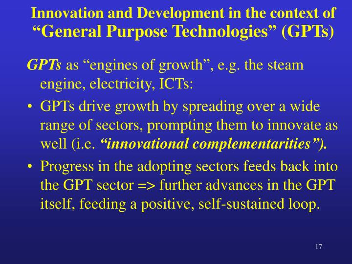 Innovation and Development in the context of