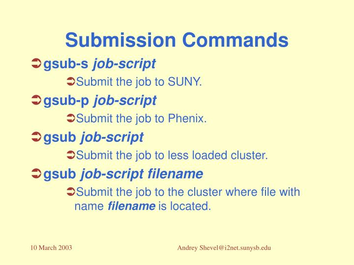 Submission Commands