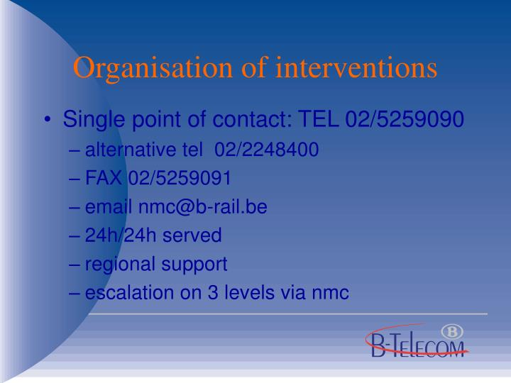 Organisation of interventions