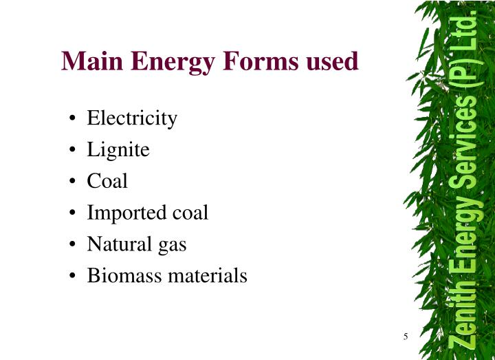 Main Energy Forms used