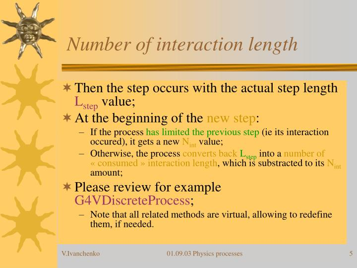 Number of interaction length