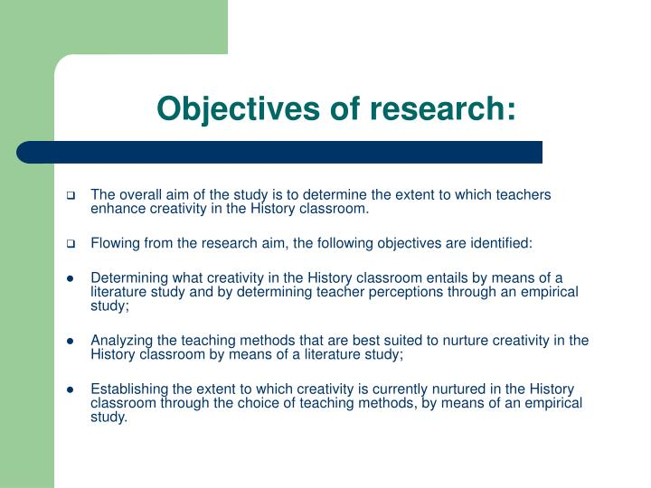 Objectives of research: