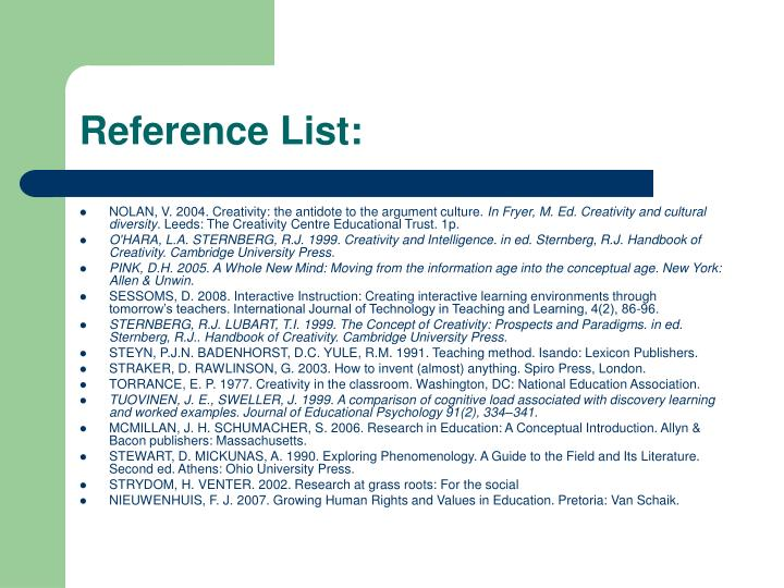 Reference List: